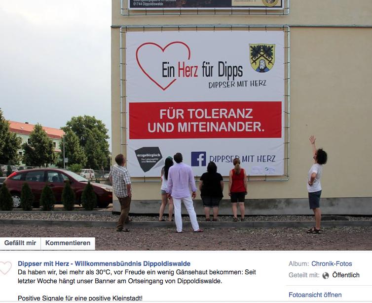 """Screenshot des Facebookeintrags der """"Dippser mit Herz"""""""